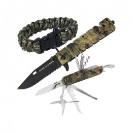 Amazon Set - Camo Lock knife, Multi-Tool and Paracord Wrist Bandt