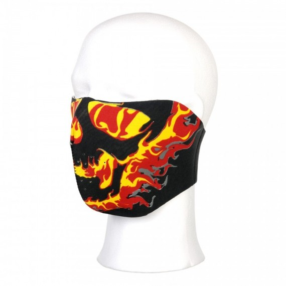 BIKER MASK HALF FACE YELLOW/RED FLAMES 113